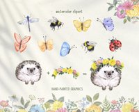 Summer Wildflowers Clipart Watercolor Floral Bicycle Bee Product Image 5
