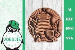 Tea cup tea pot 3D layered svg tea mandala Product Image 1