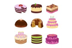 Birthday party vector tasty cakes. Anniversary decorating ca Product Image 1