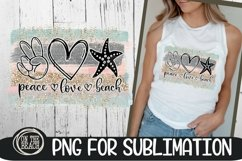 Peace Love Beach -Pastel Beach PNG 300 DPI Sublimation Product Image 1