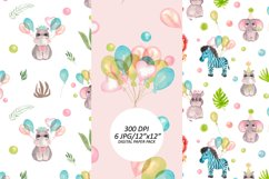 Baby animals birthday seamless pattern. African friends set Product Image 4