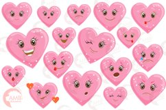 Valentine faces clipart, Heart emojis clipart, graphics illustrations AMB-1172 Product Image 4