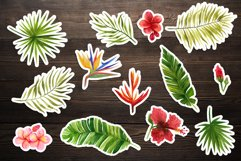 Watercolor tropical leaves and flowers. Hand drawing Product Image 2