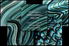 Emerald Green Alcohol Ink Backgrounds - 12 Image Set Product Image 2