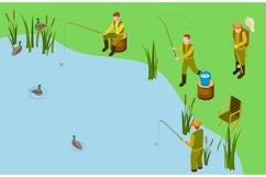 Fishermen on the lake. Vector isometric fishing concept. Mal Product Image 1