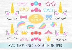Unicorn svg, Unicorn bundle, Unicorn clipart, Unicorn eyelashes, Unicorn horn svg, Crown svg, Flower clipart, Unicorn hairstyle, Constructor Product Image 1