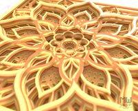 M156 - 3D Mandala Pattern Shadow Box Mandala SVG DXF Product Image 5