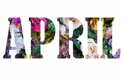 Floral letters. text April made from colorful flower photo. Product Image 1