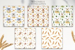 Watercolor Windmills. Cards, frames, wreaths, patterns Product Image 7