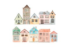 Winter Town. Watercolor Collection. Merry Christmas Product Image 3