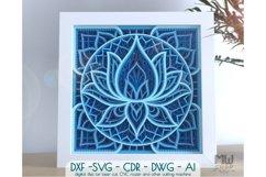 M136 - Lotus Flower Mandala, Shadow Box Mandala SVG DXF Product Image 1