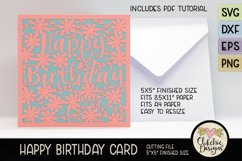 Floral Happy Birthday Card SVG - Birthday Card Cutting Files Product Image 3