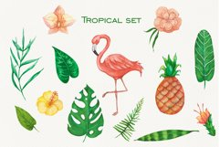 Tropical set of watercolor elements with flamingo Product Image 4