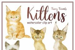 Furry friends. Kittens. Watercolor clip arts Product Image 6