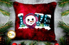 Sublimation christmas cute snowman with love marquee letter Product Image 2