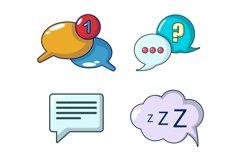Speech bulb icon set, cartoon style Product Image 1