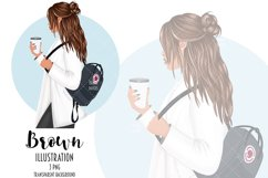 Coffee Girl Fashion Illustration, School Backpack Clipart Product Image 4