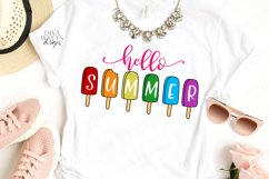Hello Summer - Popsicles - Popsicle - Sign Shirt Tote SVG Product Image 3