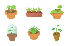 House plant icon set, cartoon style Product Image 1