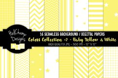 16 seamless Digital Papers - Baby Yellow and White- HC157 Product Image 1