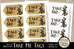Alice in Wonderland Mad Hatter Take Me Printable Tags Product Image 2