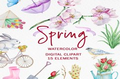 Watercolor Spring Clipart Set Product Image 1