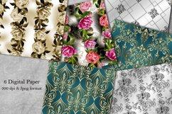 Digital Paper. Collection of 6 seamless damask patterns. Product Image 1