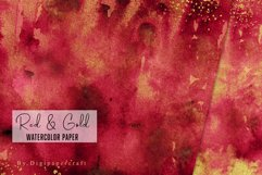Burgundy watercolor paper, Gold foil watercolor, Red & Gold Product Image 3