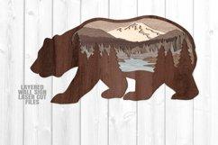 Bear Scene Layered Wall Sign SVG Glowforge Files Product Image 2