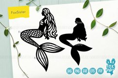 Mermaid svg, Mermaid clipart, Mermaid silhouette cut file Product Image 1