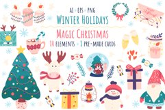 Winter holidays clipart and magic Christmas Product Image 1