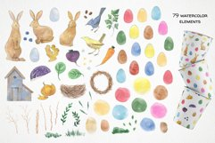 watercolor easter clipart, easter rabbit png, easter eggs Product Image 2