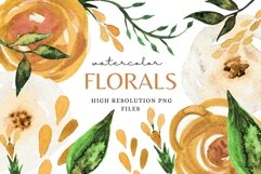 Florals in Mustard Yellow Clip Art Set Spring Sublimation Product Image 1