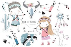 Cute tribal boy and girl clipart Product Image 1