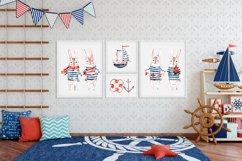Cute Rabbit sailor. Kids watercolor sea clipart. Baby Bunny Product Image 4