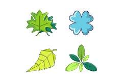 Leaf icon set, cartoon style Product Image 1