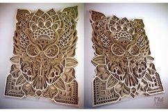 M43 - OWL Mandala DXF, Layered Owl Mandala for laser cut Product Image 5