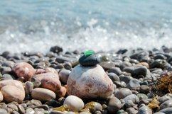 Pebble pyramid. Sea beach waves. Zen like. Copy space Product Image 1