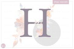 Letter H Floral MONOGRAM - Elegant Flower Initials Product Image 2