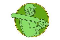 Cricket Player Batsman Circle Mono Line Product Image 1