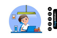 Boy Doing Homework Clipart Product Image 1
