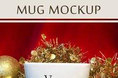 Christmas Mug Mockup, A White Cup Mock-Up for Xmas PSD & JPG Product Image 3