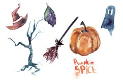 19 Fall and Halloween Watercolor Transparent Graphics Pngs Product Image 2