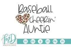 Leopard Baseball Heart - Baseball Cheerin' Auntie SVG Product Image 1