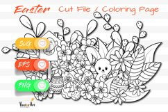Easter Fun - Cut File and Coloring Page Product Image 1