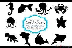 Sea animals silhouette / vector sea animal / sea animal SVG file / EPS vector / sea animals clipart Product Image 1