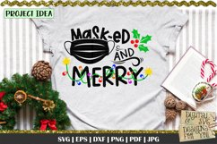 Masked and merry svg   Christmas quote   Funny christmas svg Product Image 1
