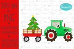 Watercolor Christmas PNG - Tractor, Farm Wagon, Tree Product Image 1