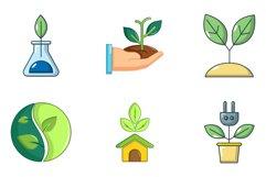 Plant icon set, cartoon style Product Image 1