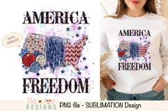 Sublimation US map animal print   red white and blue glitter Product Image 1